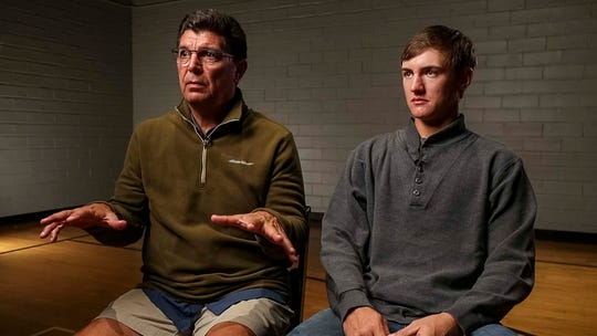 Mollie Tibbetts' father Rob Tibbetts(left) and her boyfriend Dalton Jack talk about the search for the missing 20-year-old University of Iowa student during an interview Thursday, Aug. 2, 2018, in Grinnell, Iowa.