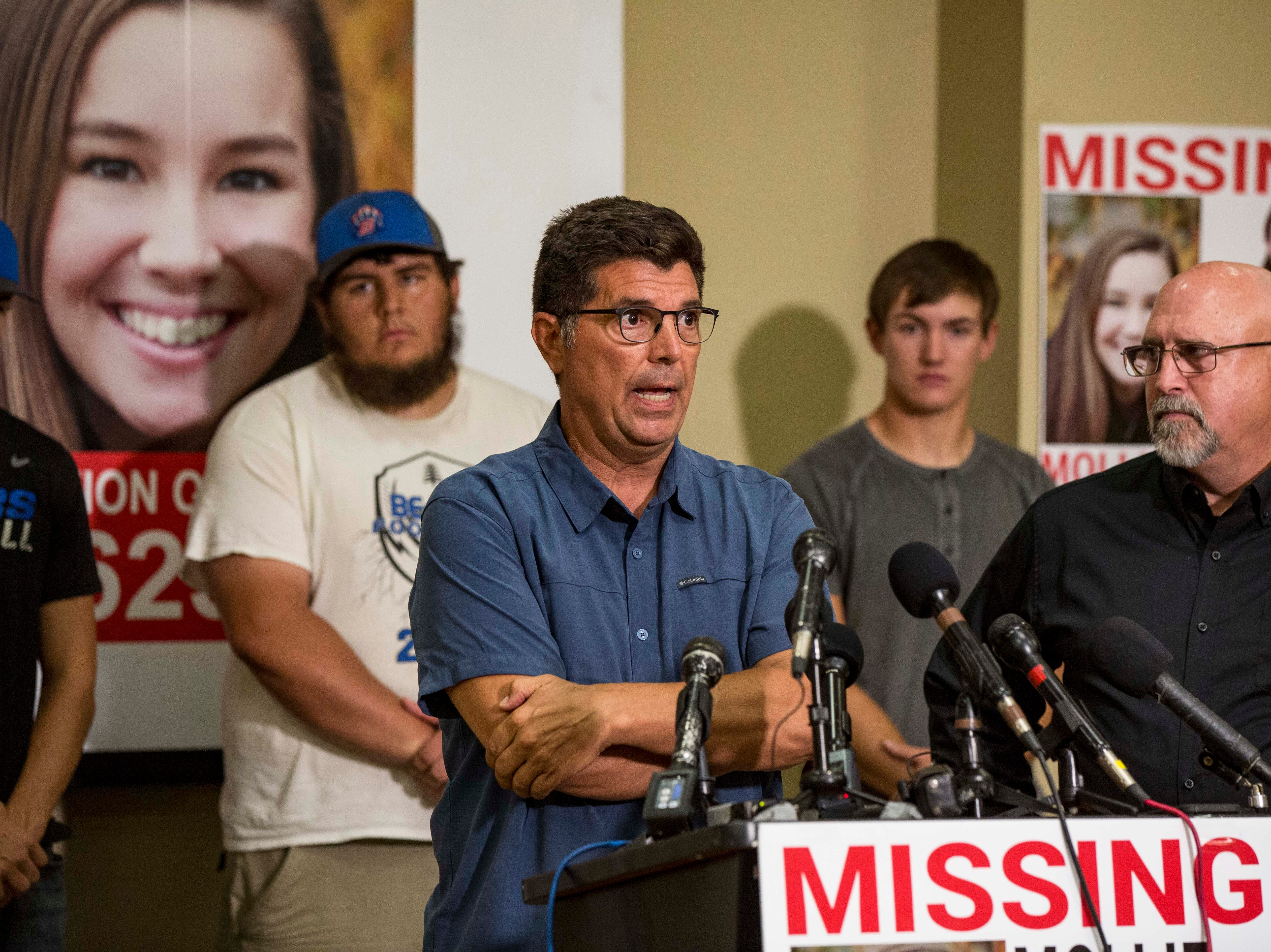 "Rob Tibbetts father of the missing 20-year-old University of Iowa student Mollie Tibbetts answers questions during a press conference announcing a ""Bring Mollie Tibbetts Home Safe Reward Fund"" Thursday, Aug. 2, 2018, in Brooklyn, Iowa."