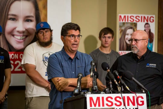 """Rob Tibbetts, the father of 20-year-old University of Iowa student Mollie Tibbetts, answers questions during a press conference announcing a """"Bring Mollie Tibbetts Home Safe Reward Fund"""" Thursday, Aug. 2, 2018, in Brooklyn, Iowa. The community celebrated Mollie Tibbetts , who was found dead Tuesday, at a funeral service Sunday afternoon."""