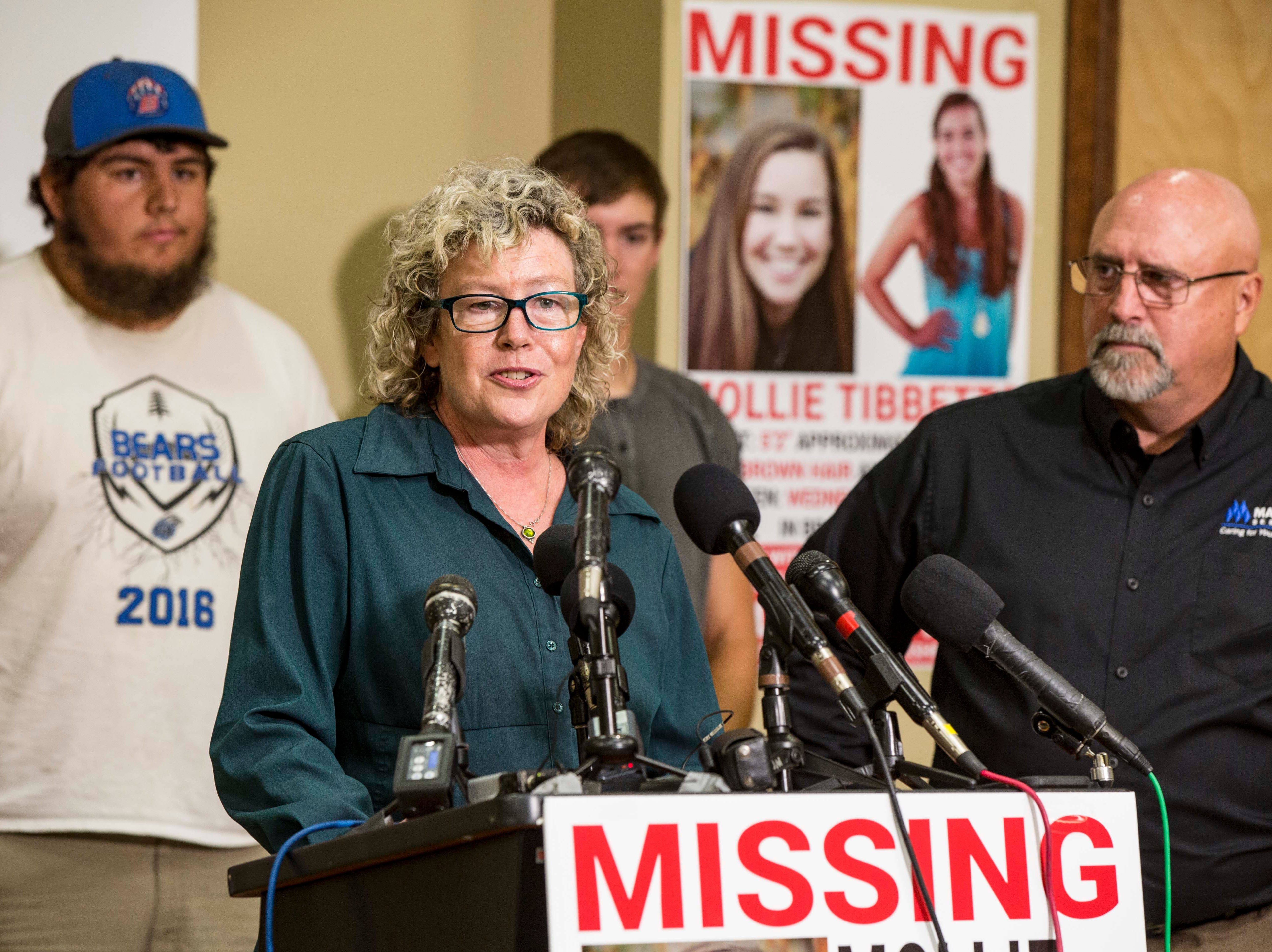 "Laura Calderwood mother of the missing 20-year-old University of Iowa student Mollie Tibbetts answers questions during a press conference announcing a ""Bring Mollie Tibbetts Home Safe Reward Fund"" Thursday, Aug. 2, 2018, in Brooklyn, Iowa."