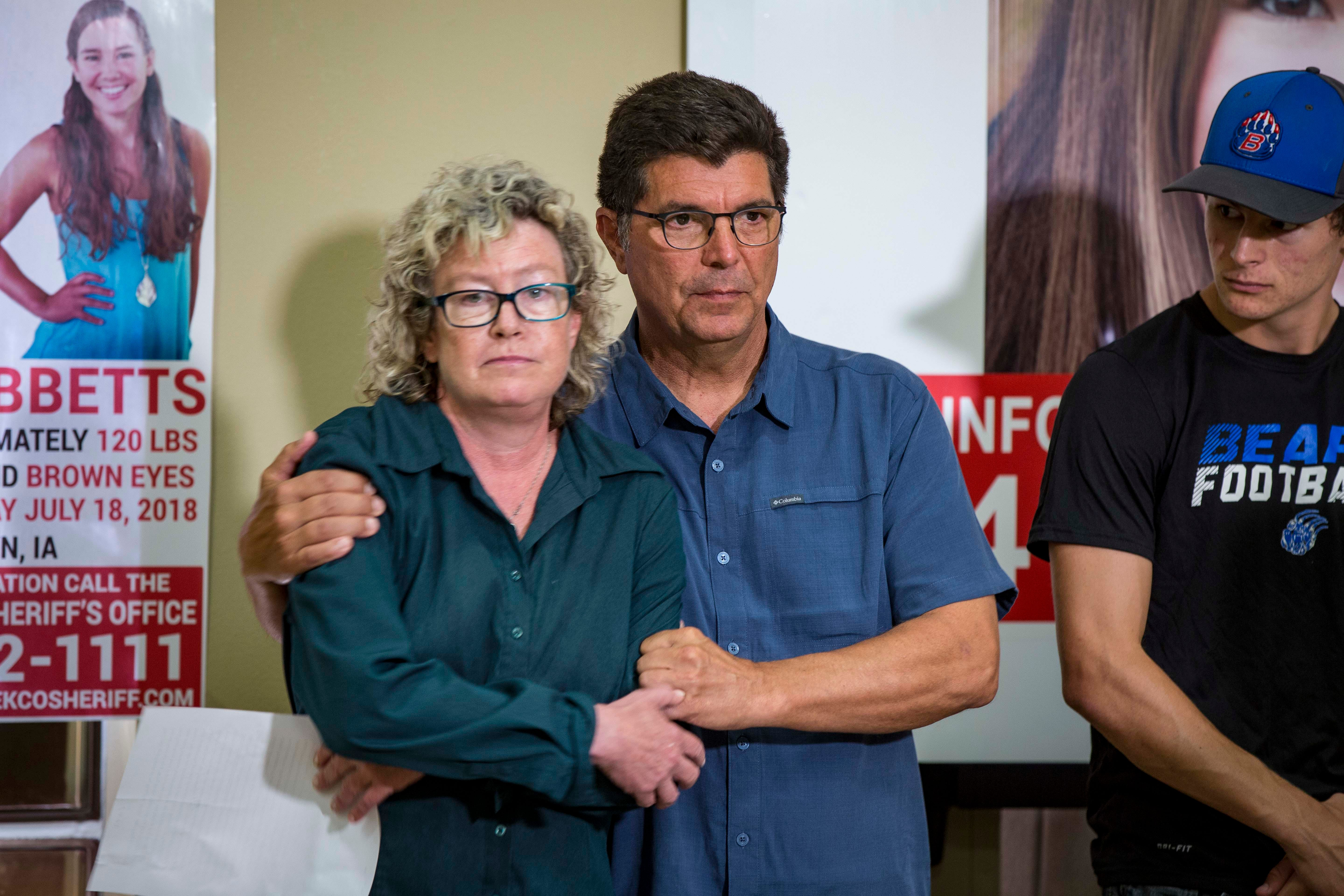 """Laura Calderwood and Rob Tibbetts parents of the missing 20-year-old University of Iowa student Mollie Tibbetts during a press conference announcing a """"Bring Mollie Tibbetts Home Safe Reward Fund"""" Thursday, Aug. 2, 2018, in Brooklyn, Iowa."""