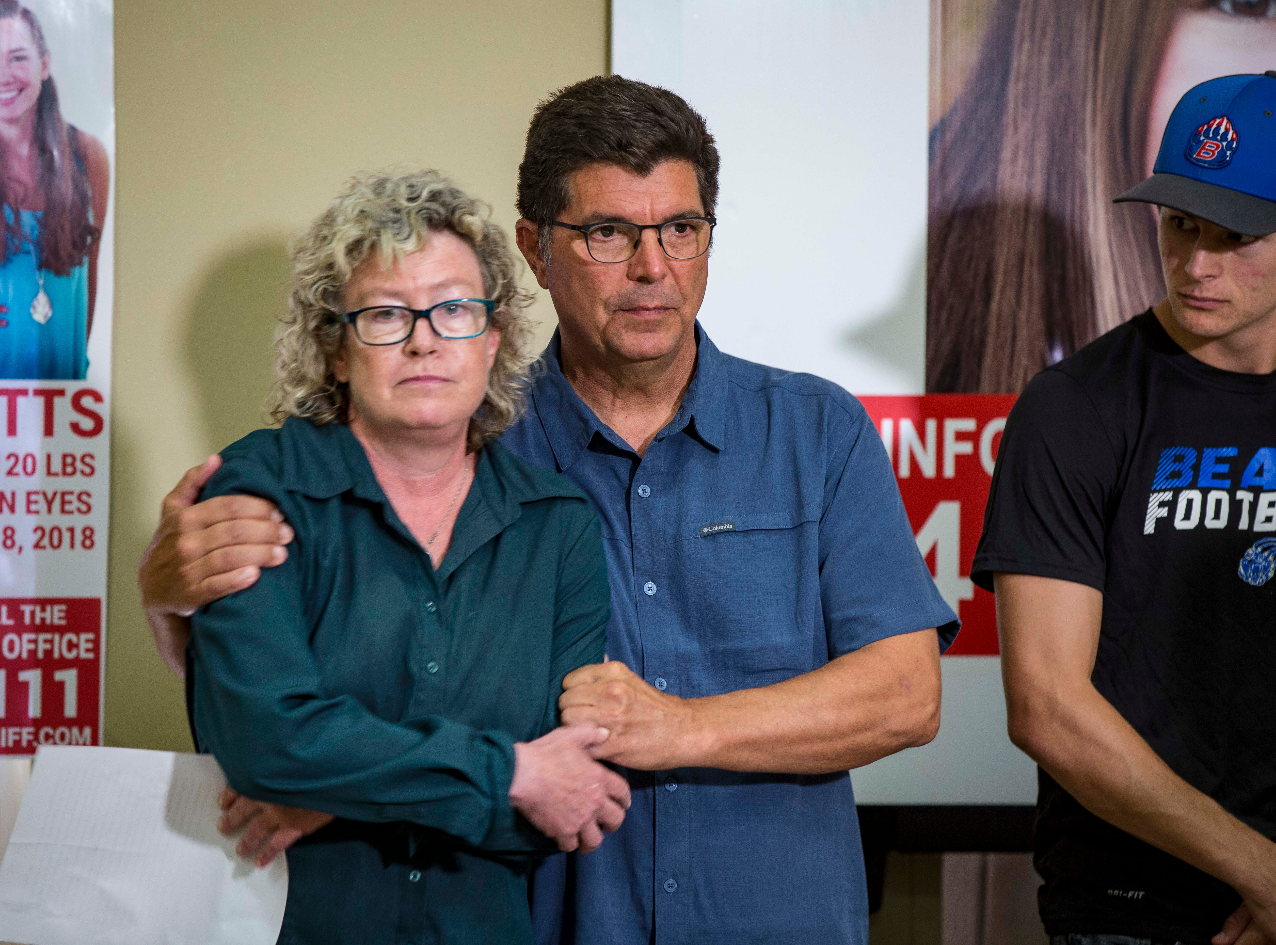 "Laura Calderwood and Rob Tibbetts parents of the missing 20-year-old University of Iowa student Mollie Tibbetts during a press conference announcing a ""Bring Mollie Tibbetts Home Safe Reward Fund"" Thursday, Aug. 2, 2018, in Brooklyn, Iowa."