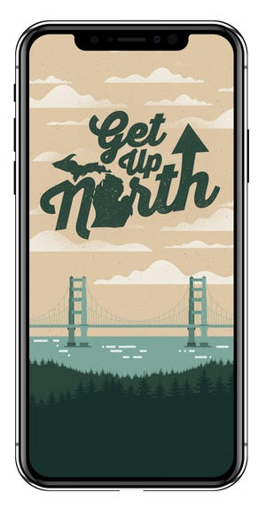 "The home screen of ""Get Up North,"" an app created by Michigan native Joey Stinson to poke fun at Michigan's bad roads."