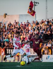 Game action between Detroit City and Club Necaxa (Mexico) at Keyworth Stadium in Hamtramck, July 10, 2018.