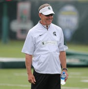 Michigan State coach Mark Dantonio watches drills during practice on Thursday, August 2, 2018, in East Lansing.