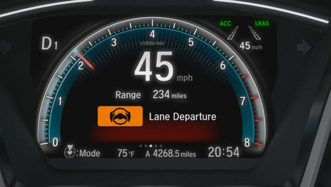 One of the Honda Sensing technologies includes Road Departure Mitigation which can adjust steering and braking if you cross detected lanes without signaling