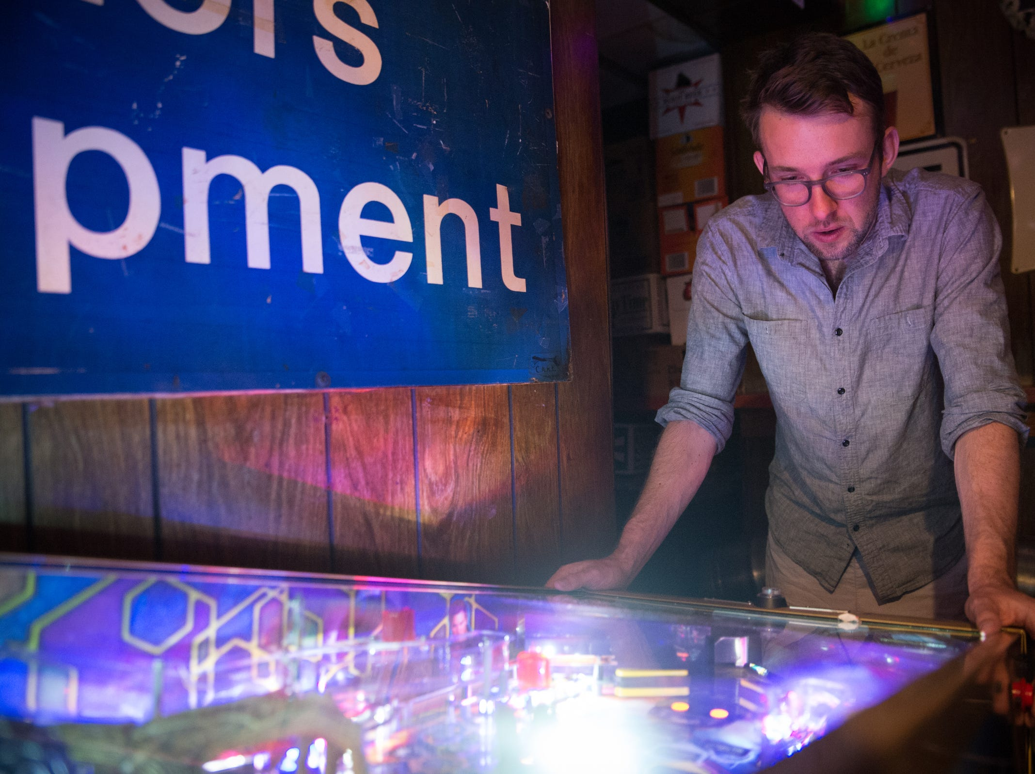Rob Gibson of Detroit plays pinball at Gusoline Alley in Detroit on Friday, July 20, 2018.