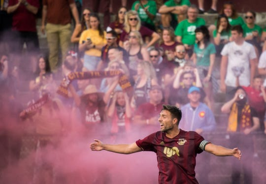 Detroit City FC captain David Edwardson protests a negated goal during Detroit City FC's match against Windsor TFC at Keyworth Stadium in Hamtramck, July 24, 2018.