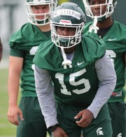 Michigan State running back La'Darius Jefferson goes through drills during practice on Thursday, August 2, 2018, in East Lansing.