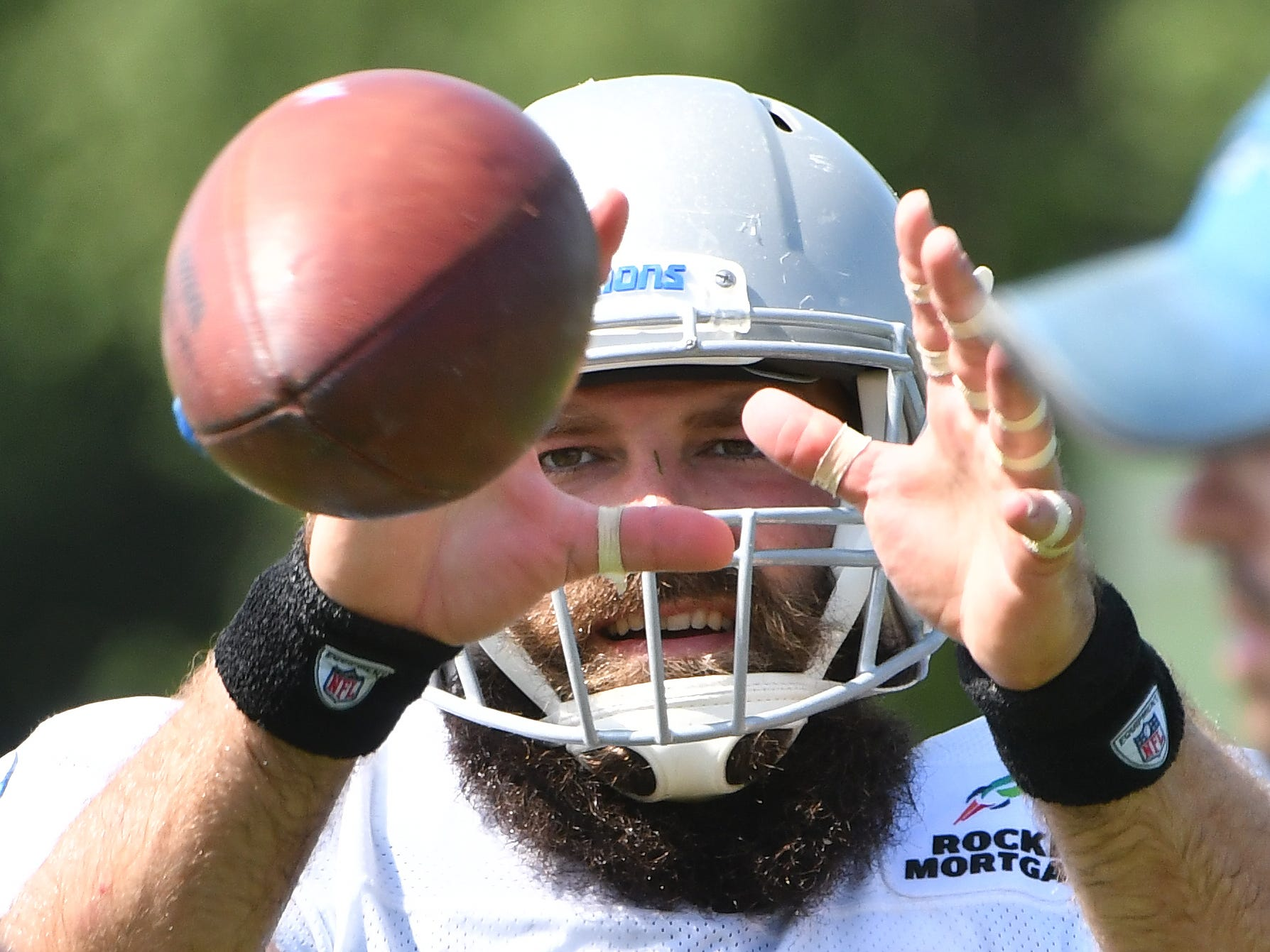 Tight end Sean McGrath gets in some time with the passing machines Thursday, Aug. 2, 2018, at Detroit Lions training camp in Allen Park, Michigan.