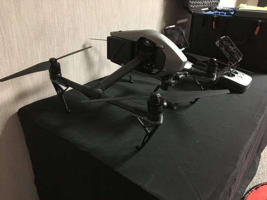 The drone equipment was on display at a USA TODAY NETWORK presentation with visual journalists.