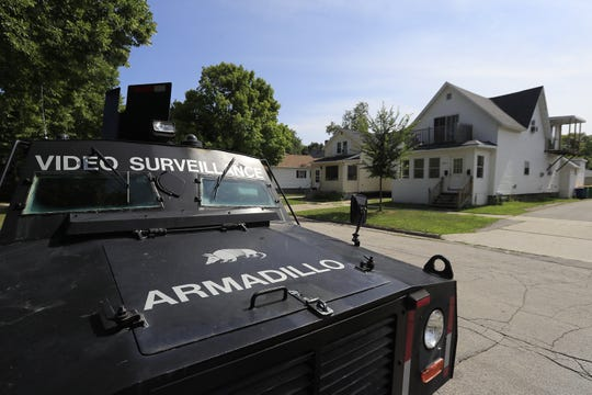 The Green Bay Police Department parks its Armadillo armored surveillance vehicle on neighborhood streets as a crime deterrent.