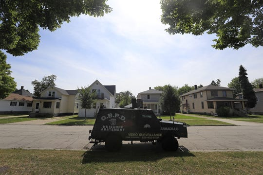 The Green Bay Police Department's armored surveillance vehicle, called the Armadillo is parked as a deterrent to crime on South Quincy Street in  Green Bay.