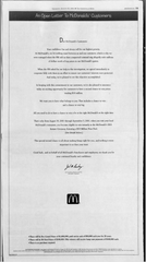 A digital replica of a page in August 23, 2001 edition of The Greenville News shows a letter to the editor from the CEO of McDonald's Corp. after the revelation of a nationwide fraud scheme involving the company's Monopoly game.