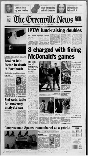 A digital replica of the August 22, 2001 front page of The Greenville News.