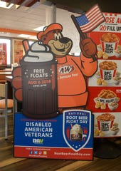 A&W restaurants wwill be handing out free root beer floats for national root beer float day, Monday, August 6th from 2-8 p.m. The company is encouraging patrons to donate to the Disabled American Veterans organization.