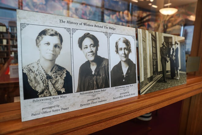 "Photos of and artifacts used by Indianapolis' first policewomen are on display in an exhibit ""Celebrating 100 Years of Policewomen in Indianapolis,"" in the special collections room at the Indianapolis Central Library, Thursday, August 2, 2018."