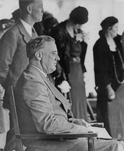 Franklin Roosevelt, then governor of New York, looked out over a sea of thousands that gathered on Monument Circle to see him. Roosevelt spoke from the balcony of English Hotel, during the campaign stop on Oct. 21, 1932.