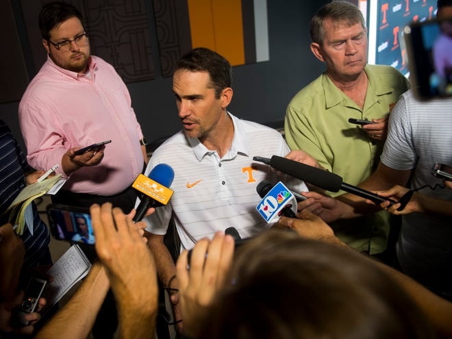 UT Vols football offensive coordinator Tyson Helton speaks to the media during a press conference on Thursday, August 2, 2018.