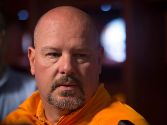 UT Vols football defensive coordinator Kevin Sherrer speaks to the media during a press conference on Thursday, August 2, 2018.