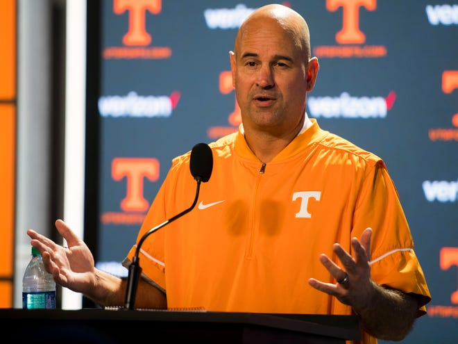 UT Vols football head coach Jeremy Pruitt speaks to the media during a press conference on Thursday, August 2, 2018.