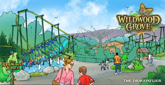 This rendering showcases Dollywood's new land, Wildwood Grove, and its Dragonflier attraction.