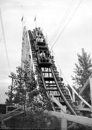 The roller coaster at the amusement park, Jefferson Beach, opened along Jefferson between 9 and 10 Mile in St. Clair Shores in 1927, built by George Haas of St. Clair Shores.