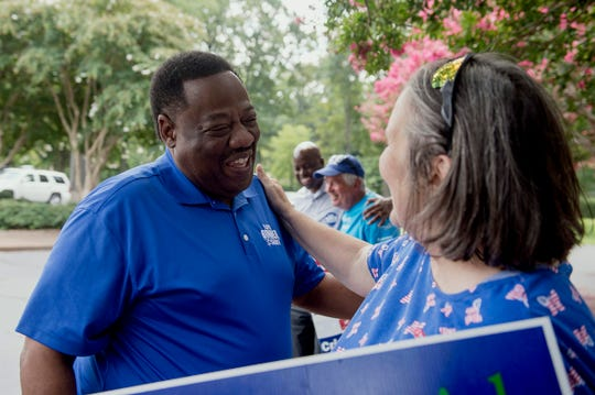 August 2, 2018 - Shelby County Sheriff candidate Floyd Bonner, left, talks with Mary Williamson at Second Baptist Church during election day.