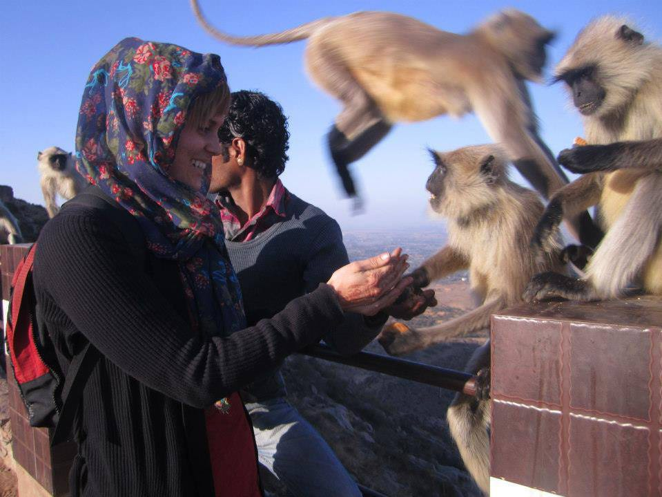 Feeding the monkeys in Pushkar, India. Heather Woodward, daughter of Marco Islander Craig Woodward, has lived all over Asia and traveled all over the world.