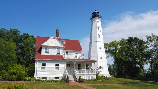 The North Point Lighthouse in Milwaukee's Lake Park dates to 1888, with a new structure added to the bottom of the tower in 1912. The lighthouse is open for tours on Saturdays and Sundays year-round.