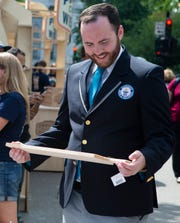 Mike Marcotte, an adjudicator for Guinness World Records, officially observed the Dairy Farmers of Wisconsin's world largest cheeseboard in Madison on Wednesday.