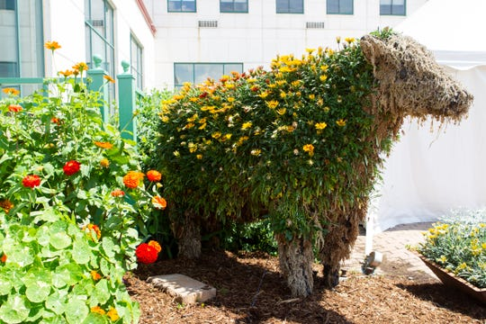 A cow figure shaped with flowers stands outside the Tommy G. Thompson Youth Center at Wisconsin State Fair Park.