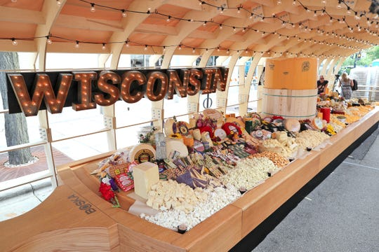 The finished record-breaking cheeseboard held 4,437 pounds of Wisconsin cheese. Dairy Farmers of Wisconsin built the cheeseboard and broke the world record in Madison, Wednesday, Aug. 1.