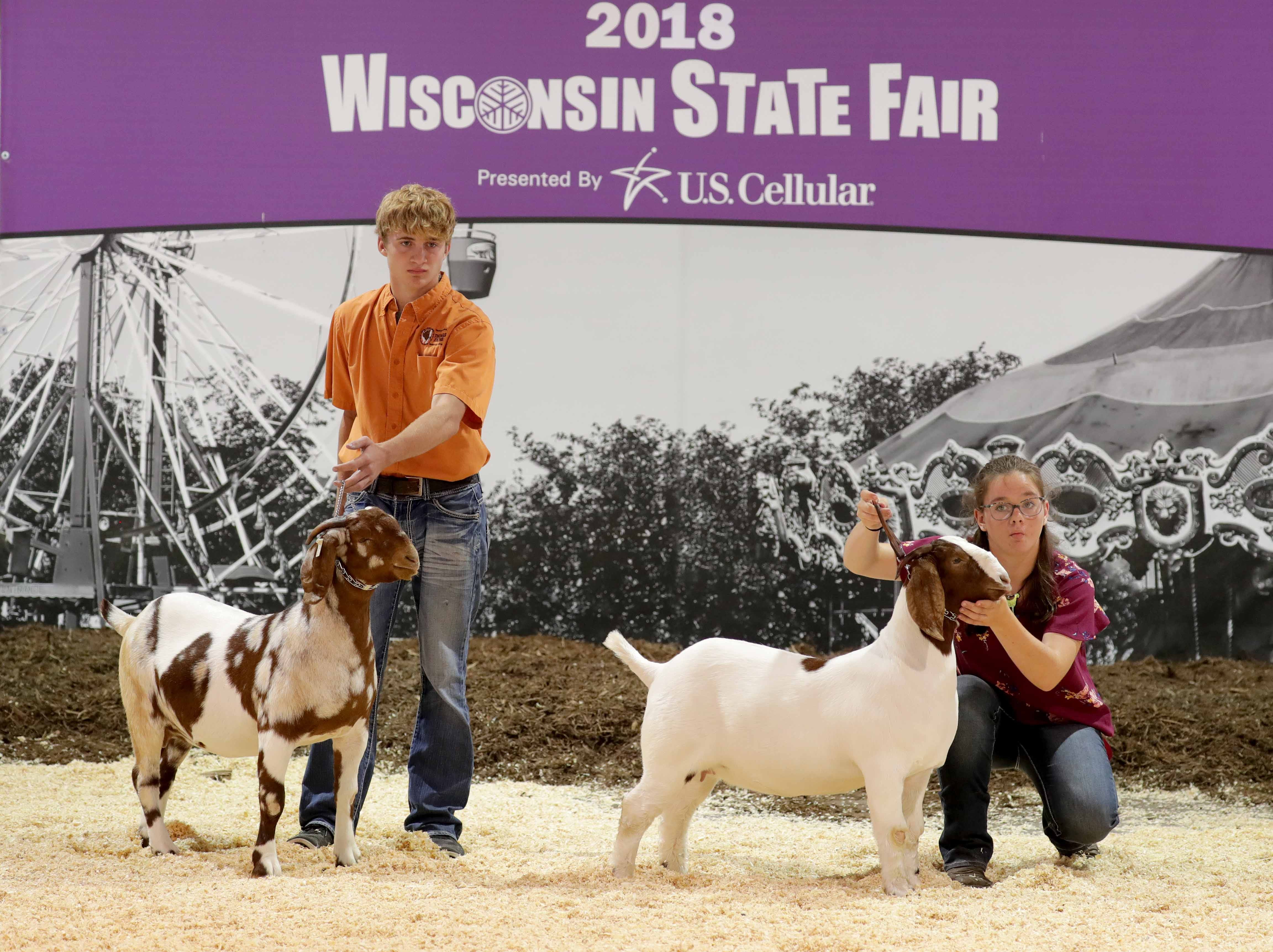 W-ANIMALS - Colton Tay (left), 16, of Cooksville IL., and Della Harrod, 13, from Hinckley IL., and a member of the Hinckley harvesters 4-H club show their goats during the during the Boer goat show.  Youth from across the area from various 4-H groups and agriculture organizations, descended on the Wisconsin State Fair grounds in West Allis to ready their animals for shows. The opening of the 167th Wisconsin State Fair took place at the Wisconsin State Fair grounds in West Allis on Thursday, August 2, 2018. The fair runs through Sunday, August 12  -  Photo by Mike De Sisti / Milwaukee Journal Sentinel