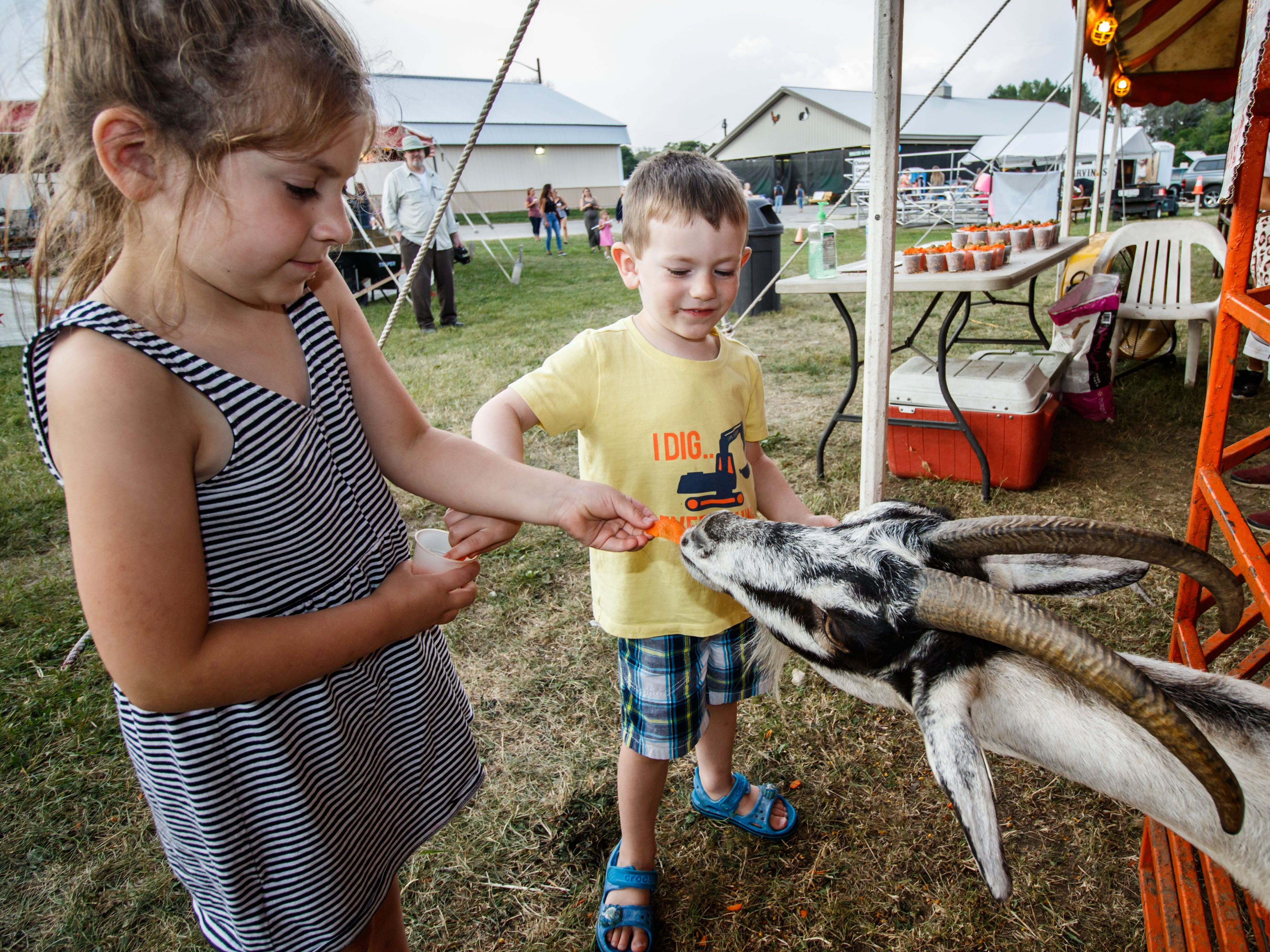 Five-year-old Clare Abrahamson and her brother Cole, 3, of Cedarburg make a new friend at the petting zoo during opening day of the Ozaukee County Fair in Cedarburg on Wednesday, August 1, 2018.