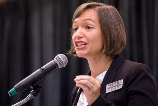 Democratic candidate for U.S. Representative District 2 Tabitha Isner speaks Thursday, Aug. 2, 2018, during the AFL-CIO's endorsement convention in Montgomery, Ala.