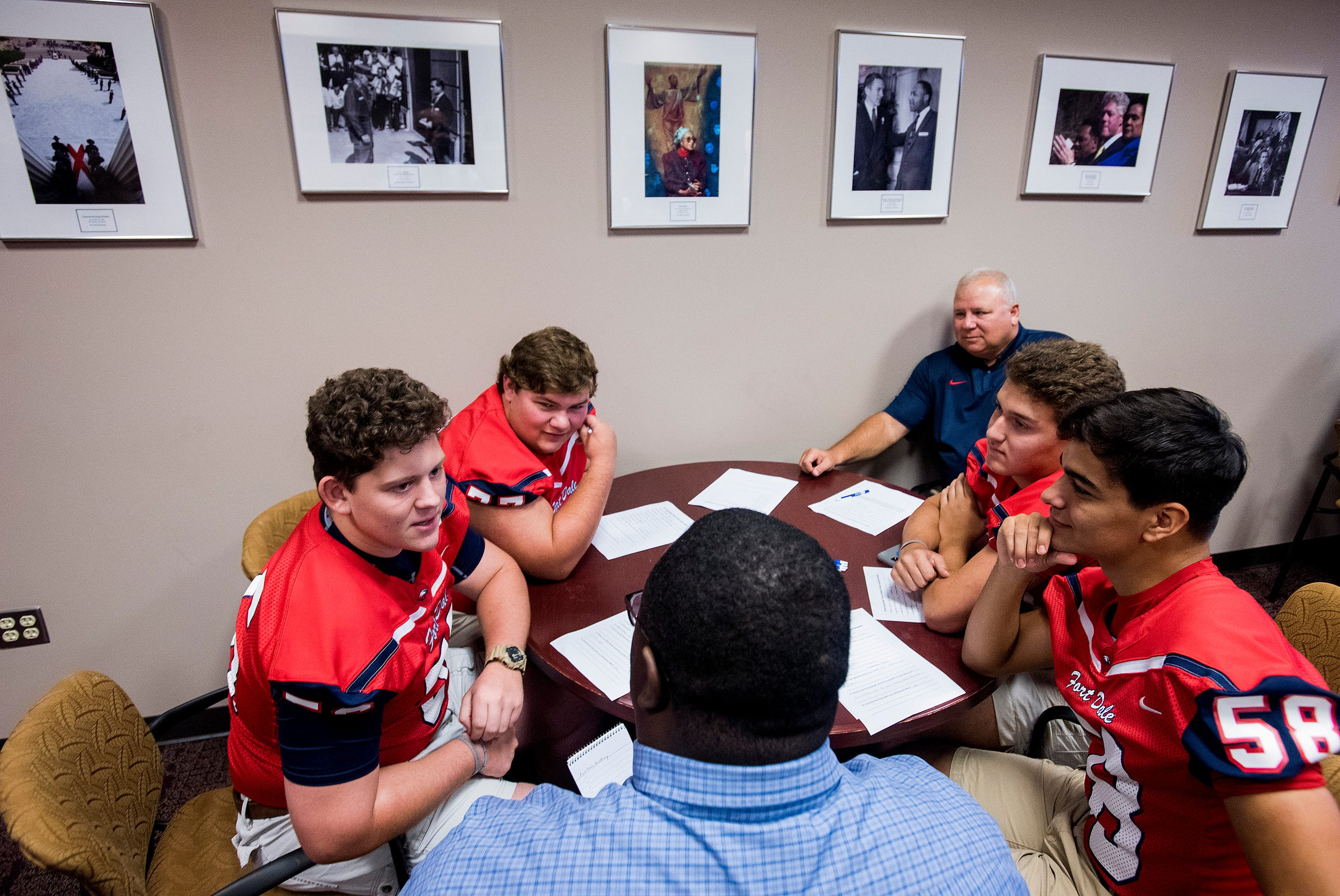 Fort Dale Academy players are interviewed during the Montgomery Advertiser High School Media Day in Montgomery, Ala., on Thursday, August 2, 2018.