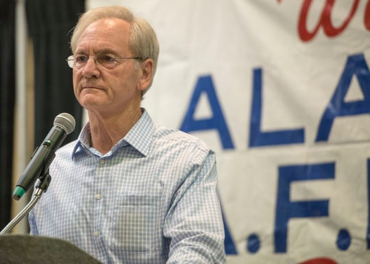 Former Alabama Gov. Don Siegelman speaksThursday, Aug. 2, 2018, during the AFL-CIO's endorsement convention in Montgomery, Ala.