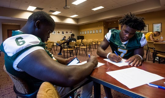 Jeff Davis players during the Montgomery Advertiser High School Media Day in Montgomery, Ala., on Thursday, August 2, 2018.