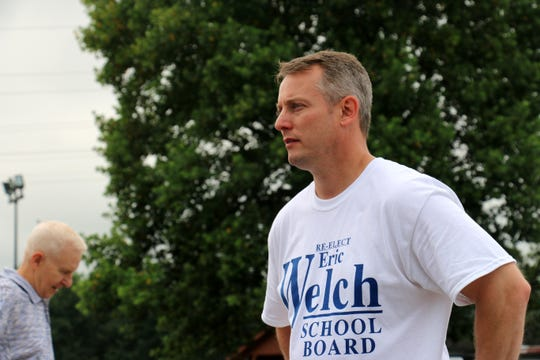 Williamson County School Board candidate Eric Welch stands at the Franklin Recreation Center, where he greeted voters at the polls on Aug. 2, 2018.