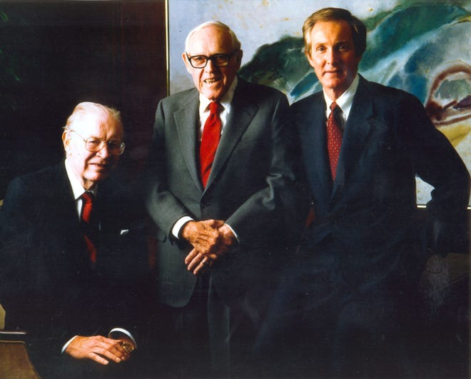 HCA founders Dr. Thomas Frist Sr., left, businessman Jack Massey, center, and Dr. Thomas First Jr. started Nashville's most important company in 1968. Today, HCA is the largest hospital chain in the U.S. and the core of the city's health care industry.