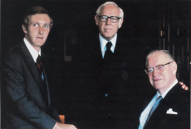 HCA founders Dr. Thomas Frist Jr., left, businessman Jack Massey, center, and Dr. Thomas First Sr. started Nashville's most important company in 1968. Today, HCA is the largest hospital chain the U.S. and the core of the city's health care industry.