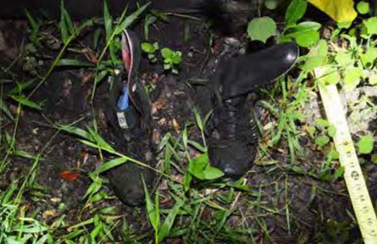 Photo of hiking boots belonging to a man whose body was found in Big Cypress National Preserve July 23.