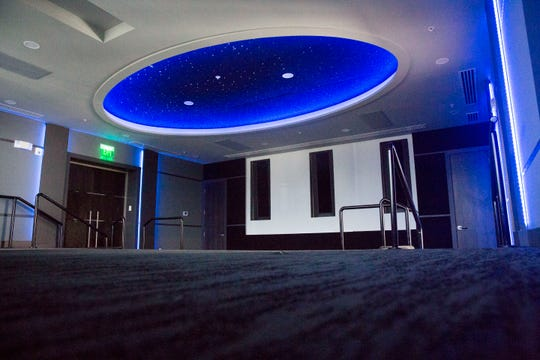 Engle Dentistry recently opened its third location off of U.S. 41. The interior includes a movie theater, as seen on Wednesday, August 1, 2018. This space will particularly be used for giving lectures. The new building located in Naples is distinctive for its sleek and modern design.