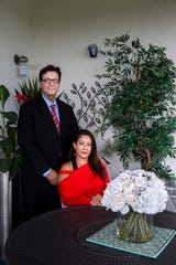 Amal Bernal and her husband, Bill Kibler, at their home in North Naples on Wednesday, Aug. 1, 2018. Bernal's ex-husband abused her physically, emotionally and financially for 20 years. The road to recovery for Bernal has been a long one, but she is now happily remarried, adopted a son, is taking re-certification courses and has opened her own practice called Create Pathways Counseling, where she provides life, relationship, career and corporate counseling.