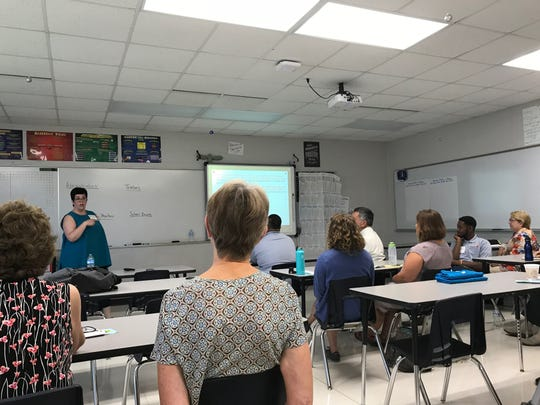 University of Wisconsin-La Crosse sociology professor and La Crosse school board member Laurie Cooper Stoll talks about racial equity Wednesday, Aug. 1, 2018, during a breakout session at the Wisconsin Public Education Network Annual Summer Summit at Appleton North High School.