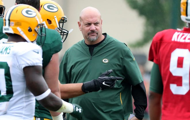 Packers defensive coordinator Mike Pettine during Green Bay Packers Training Camp Thursday, August 2, 2018 at Ray Nitschke Field in Ashwaubenon, Wis