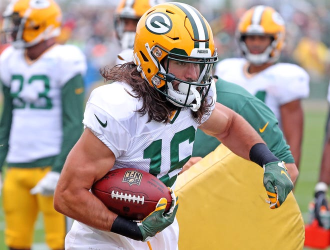 Green Bay Packers wide receiver Jake Kumerow (16) during Green Bay Packers Training Camp Thursday, August 2, 2018 at Ray Nitschke Field in Ashwaubenon, Wis