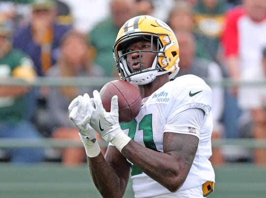 Green Bay Packers wide receiver Geronimo Allison (81) during Green Bay Packers Training Camp Thursday, August 2, 2018 at Ray Nitschke Field in Ashwaubenon, Wis