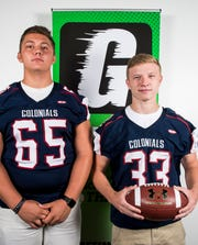 New Oxford football players Tyler Lacey, left, and Andrew Sanford pose for a photo during YAIAA football media day in Hanover on Thursday, August 2, 2018.